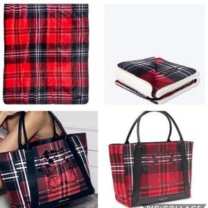 New Victoria's Secret Plaid Blanket & Tote NWT